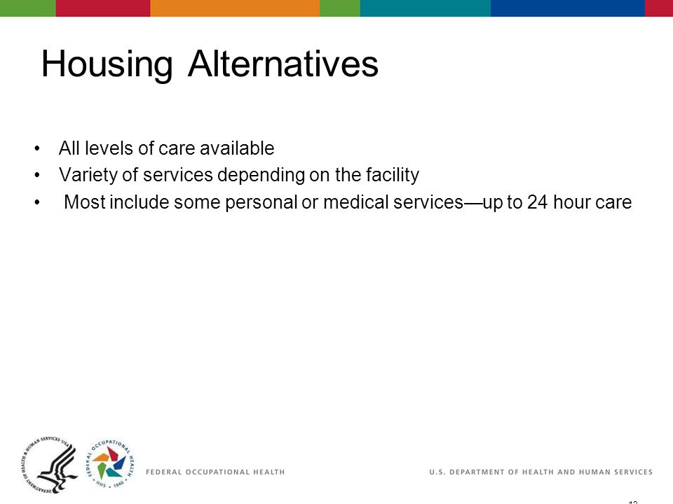 12 06/29/2007 2:30pmeSlide - P WorkLife4You Housing Alternatives All levels of care available Variety of services depending on the facility Most include some personal or medical services—up to 24 hour care