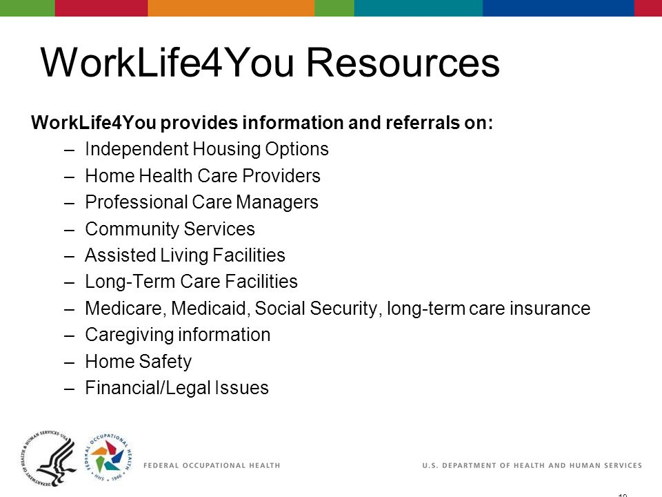 19 06/29/2007 2:30pmeSlide - P WorkLife4You WorkLife4You Resources WorkLife4You provides information and referrals on: –Independent Housing Options –Home Health Care Providers –Professional Care Managers –Community Services –Assisted Living Facilities –Long-Term Care Facilities –Medicare, Medicaid, Social Security, long-term care insurance –Caregiving information –Home Safety –Financial/Legal Issues