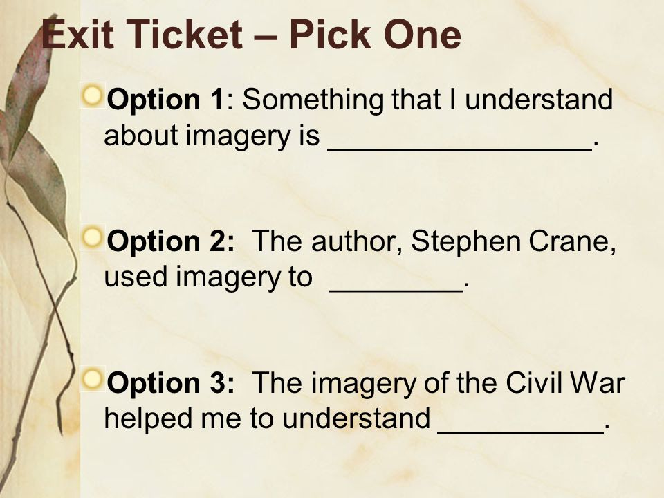 Exit Ticket – Pick One Option 1: Something that I understand about imagery is ________________.