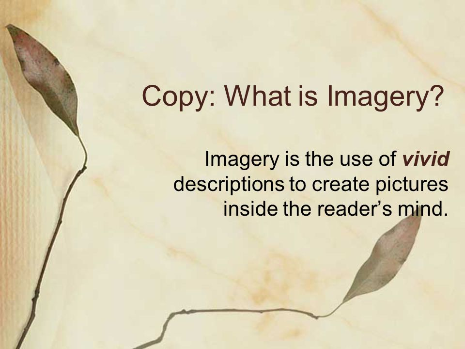 Copy: What is Imagery.