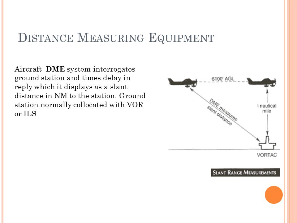 D ISTANCE M EASURING E QUIPMENT Aircraft DME system interrogates ground station and times delay in reply which it displays as a slant distance in NM to the station.