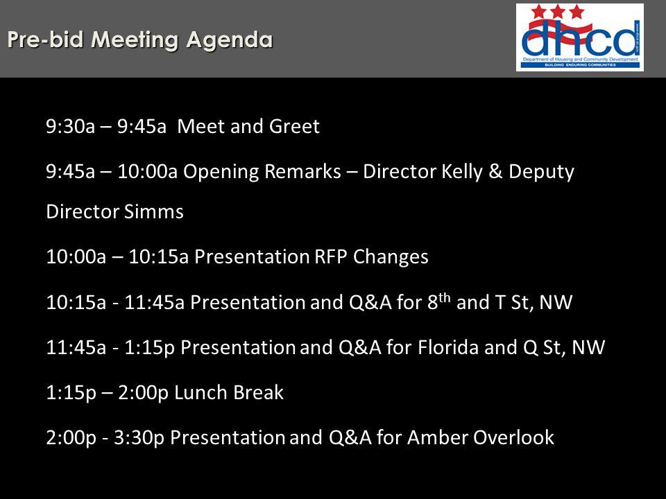 pre bid meeting agenda 9 30a 9 45a meet and greet 9 45a 10 00a