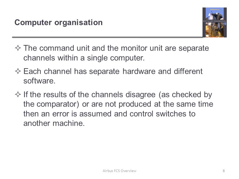 Computer organisation  The command unit and the monitor unit are separate channels within a single computer.