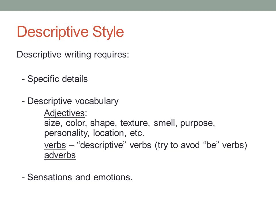 descriptive writing style