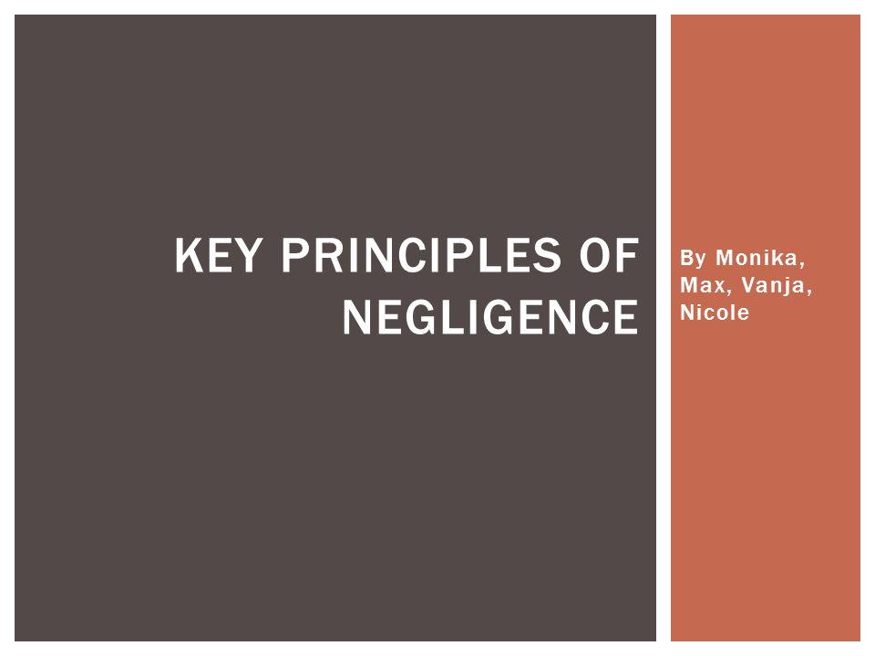 By Monika, Max, Vanja, Nicole KEY PRINCIPLES OF NEGLIGENCE
