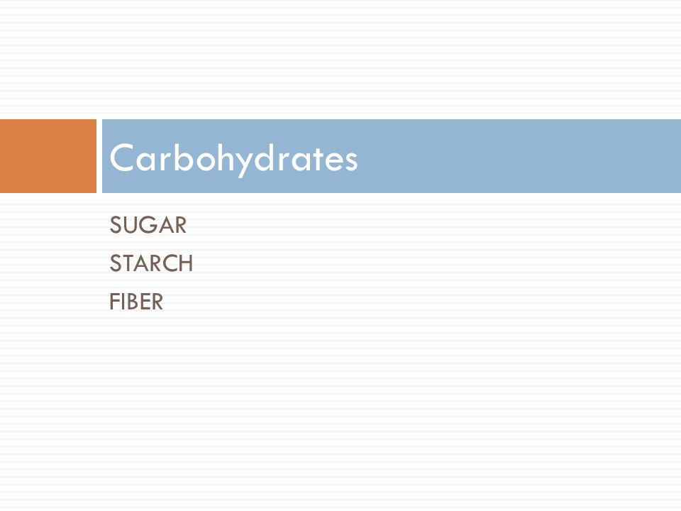 SUGAR STARCH FIBER Carbohydrates