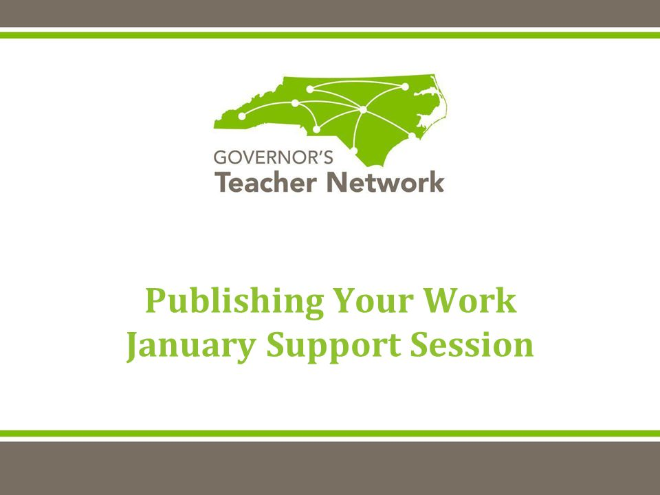 Publishing Your Work January Support Session