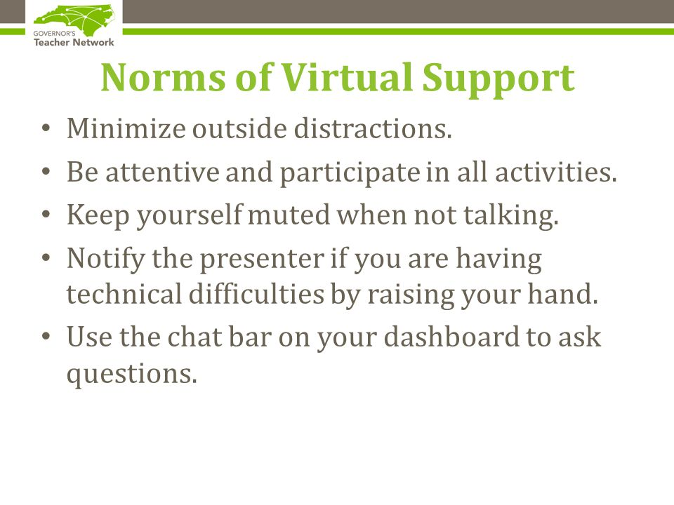 Norms of Virtual Support Minimize outside distractions.