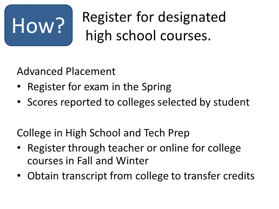 Advanced Placement Register for exam in the Spring Scores reported to colleges selected by student College in High School and Tech Prep Register through teacher or online for college courses in Fall and Winter Obtain transcript from college to transfer credits How.