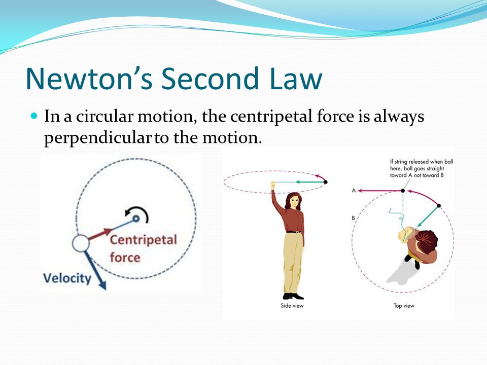 Newton's Second Law In a circular motion, the centripetal force is always perpendicular to the motion.