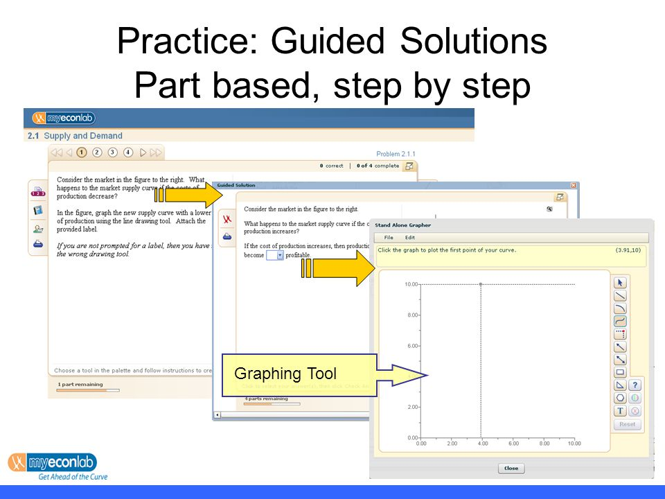 Practice: Guided Solutions Part based, step by step Graphing Tool