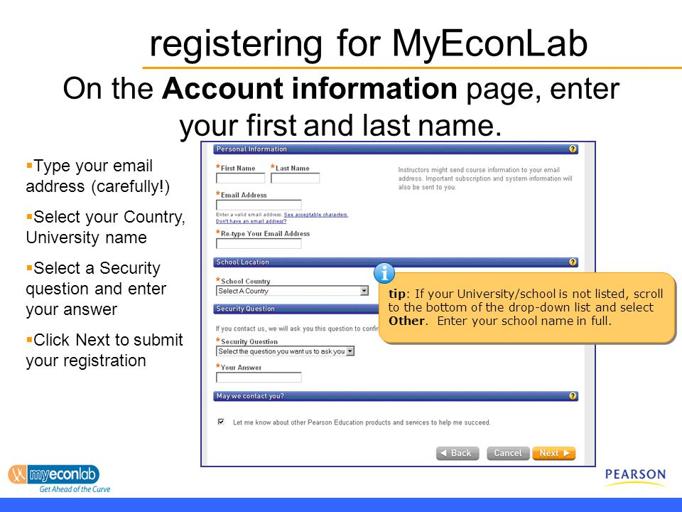 On the Account information page, enter your first and last name.