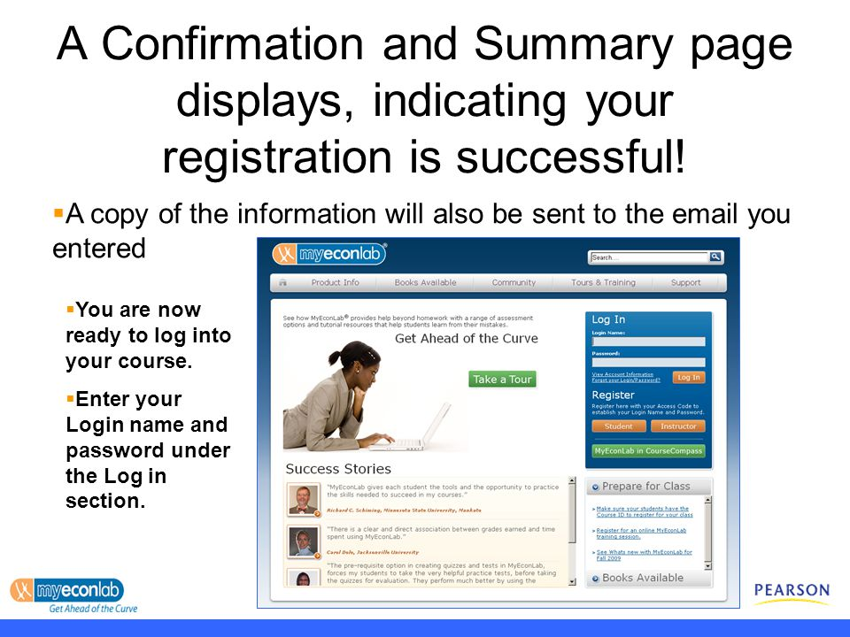 A Confirmation and Summary page displays, indicating your registration is successful.