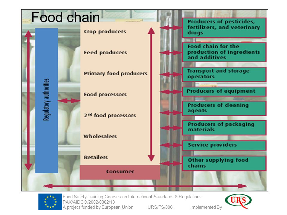 Food chain Food Safety Training Courses on International Standards & Regulations PAK/AIDCO/2002/0382/13 A project funded by European Union URS/FS/006 Implemented By