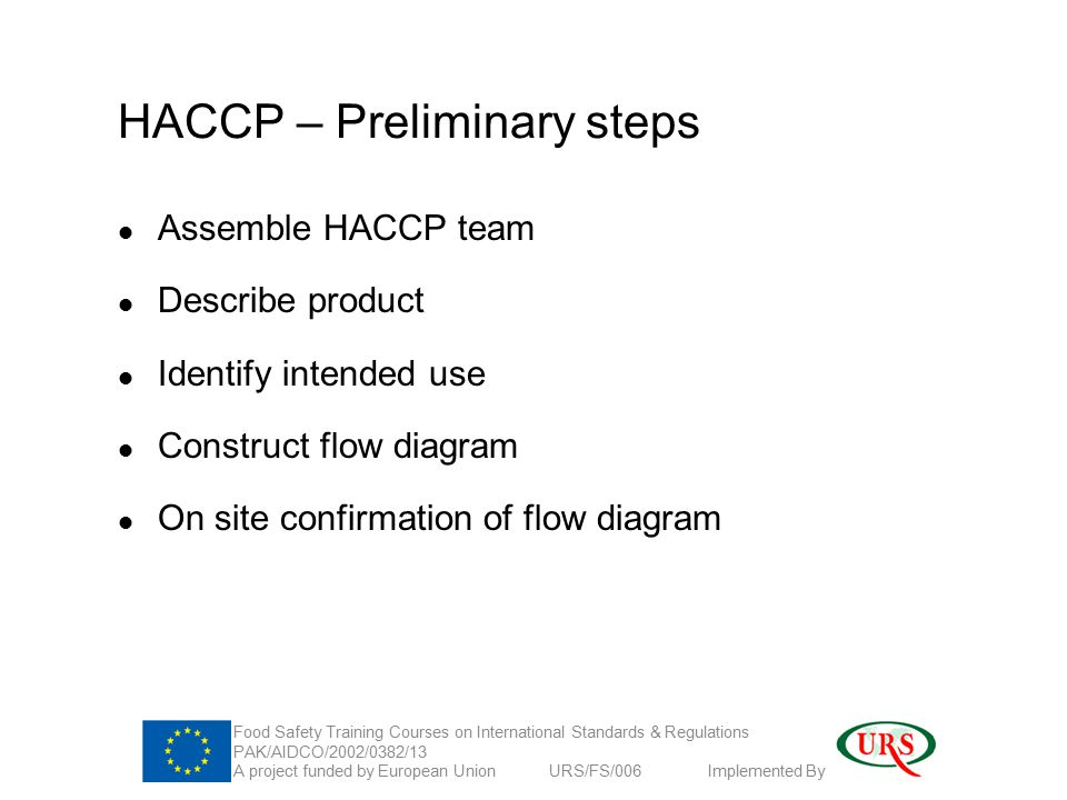 HACCP – Preliminary steps Assemble HACCP team Describe product Identify intended use Construct flow diagram On site confirmation of flow diagram Food Safety Training Courses on International Standards & Regulations PAK/AIDCO/2002/0382/13 A project funded by European Union URS/FS/006 Implemented By