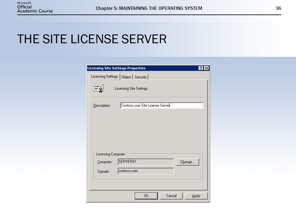 Chapter 5: MAINTAINING THE OPERATING SYSTEM36 THE SITE LICENSE SERVER