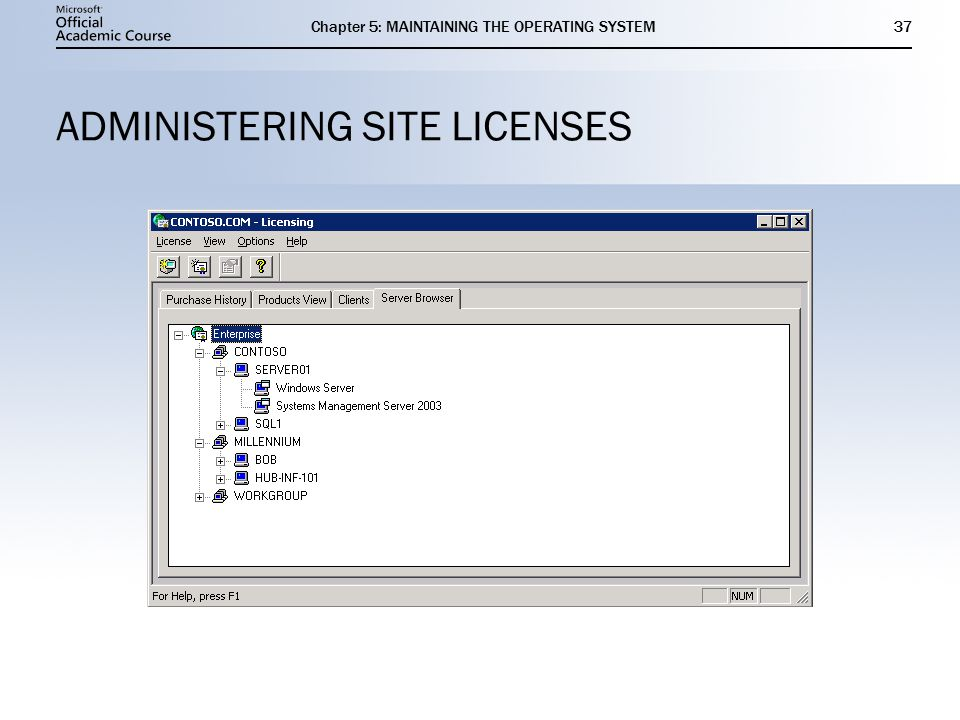 Chapter 5: MAINTAINING THE OPERATING SYSTEM37 ADMINISTERING SITE LICENSES
