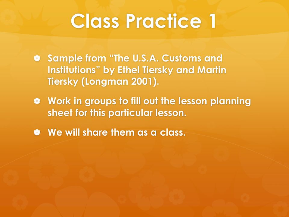 Class Practice 1  Sample from The U.S.A.