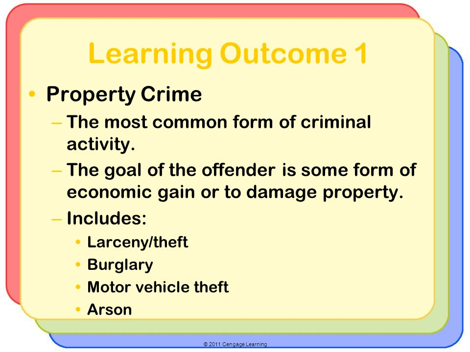 © 2011 Cengage Learning Learning Outcome 1 Property Crime – The most common form of criminal activity.