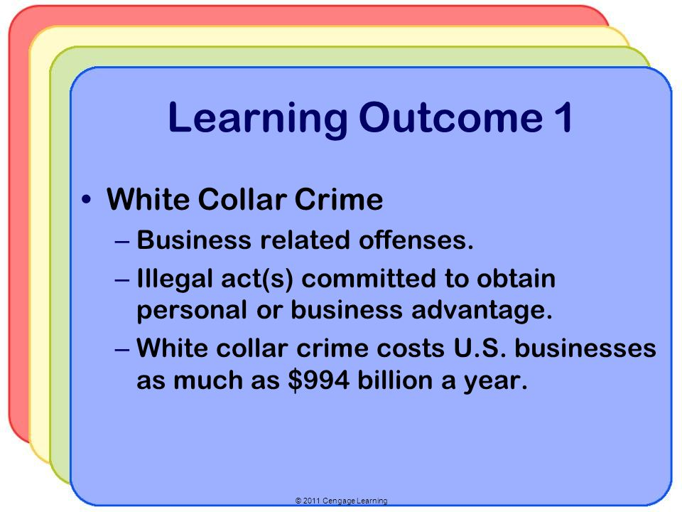 © 2011 Cengage Learning Learning Outcome 1 White Collar Crime – Business related offenses.
