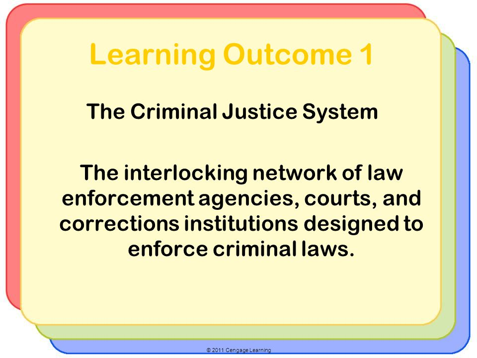 © 2011 Cengage Learning Learning Outcome 1 The Criminal Justice System The interlocking network of law enforcement agencies, courts, and corrections institutions designed to enforce criminal laws.