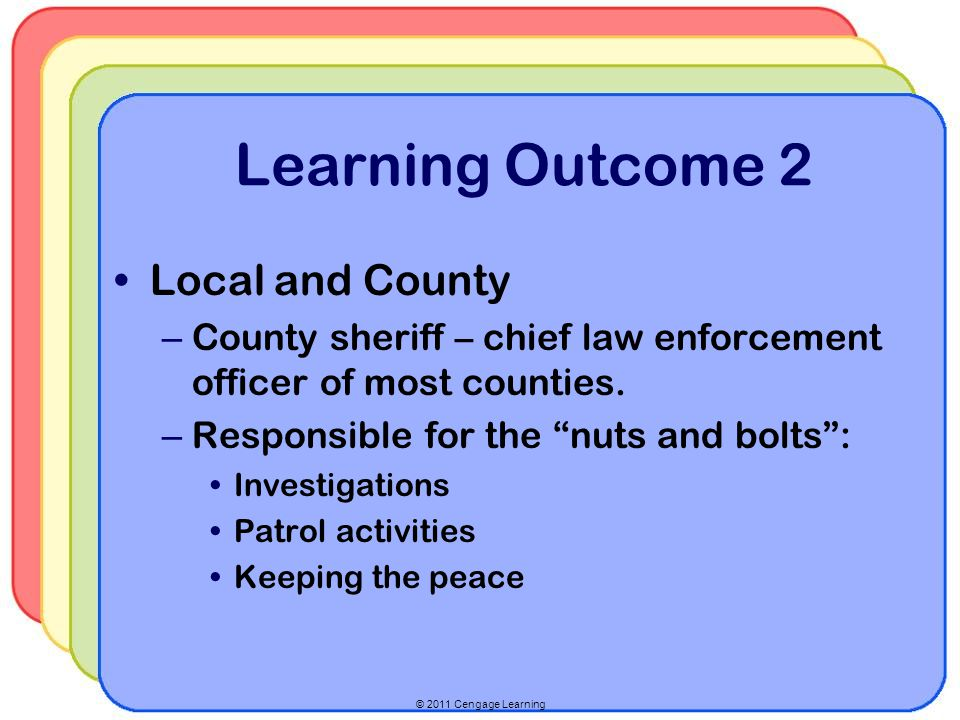 © 2011 Cengage Learning Learning Outcome 2 Local and County – County sheriff – chief law enforcement officer of most counties.