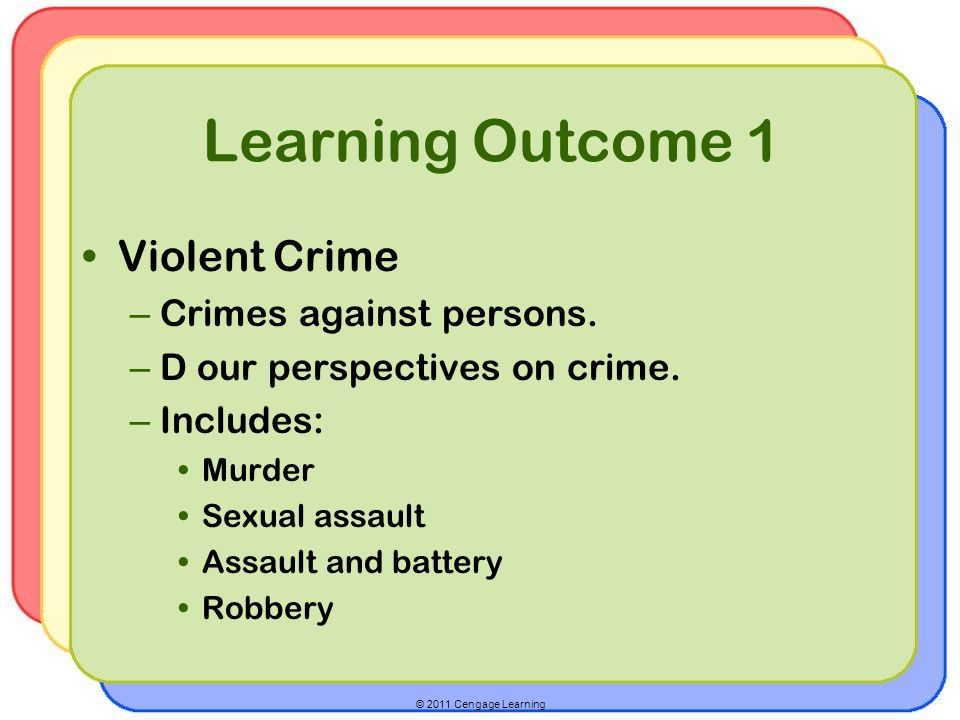 © 2011 Cengage Learning Learning Outcome 1 Violent Crime – Crimes against persons.