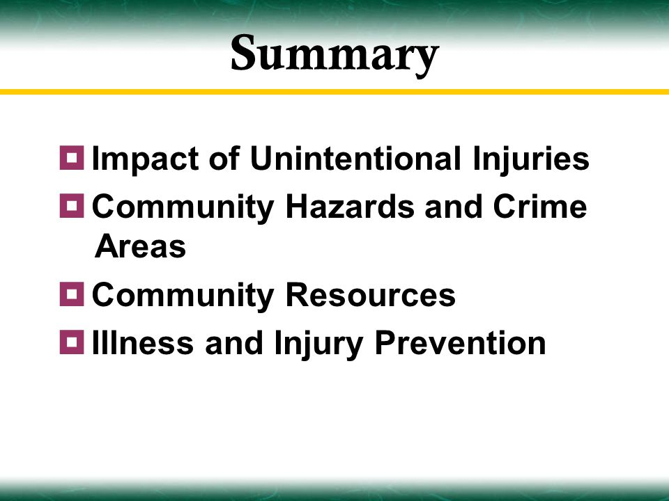 Summary  Impact of Unintentional Injuries  Community Hazards and Crime Areas  Community Resources  Illness and Injury Prevention
