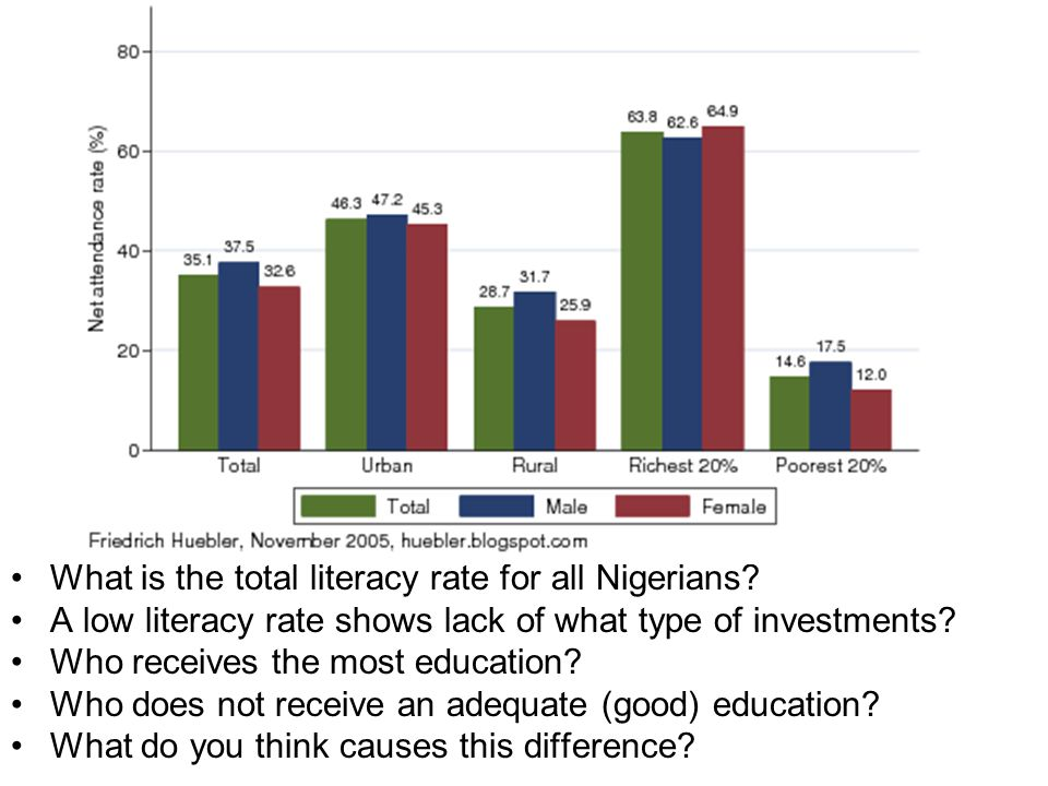What is the total literacy rate for all Nigerians.