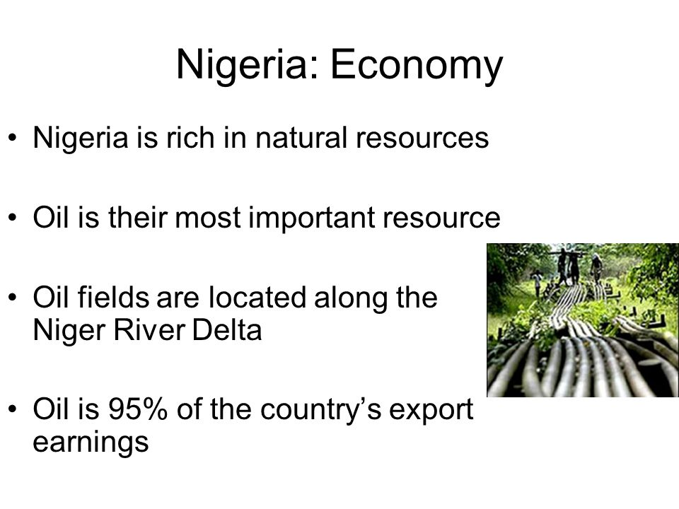 Nigeria: Economy Nigeria is rich in natural resources Oil is their most important resource Oil fields are located along the Niger River Delta Oil is 95% of the country's export earnings