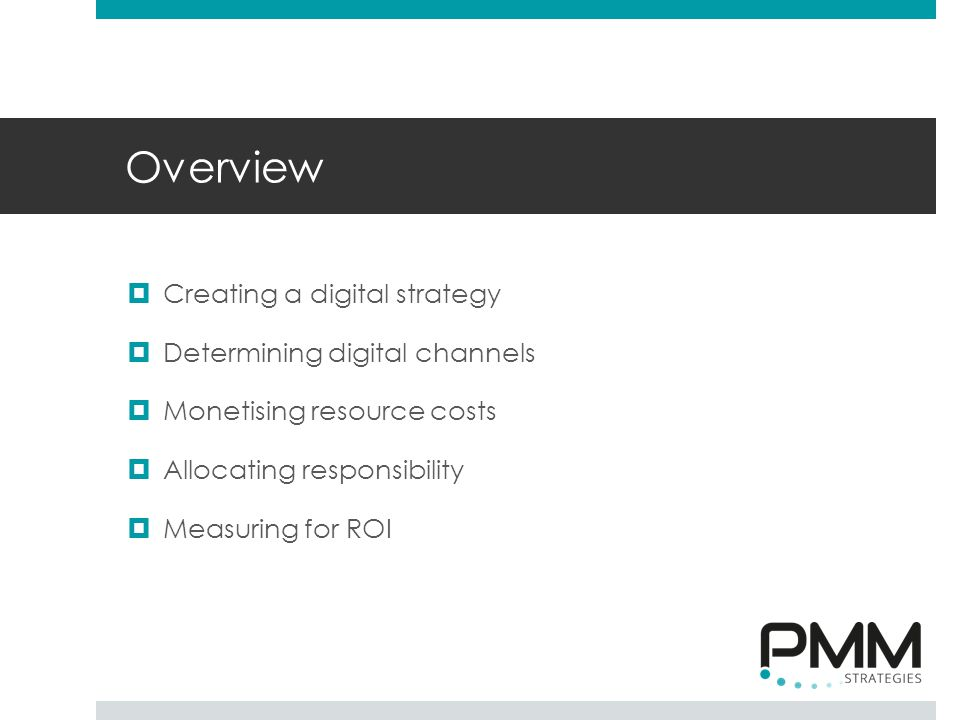 Overview  Creating a digital strategy  Determining digital channels  Monetising resource costs  Allocating responsibility  Measuring for ROI