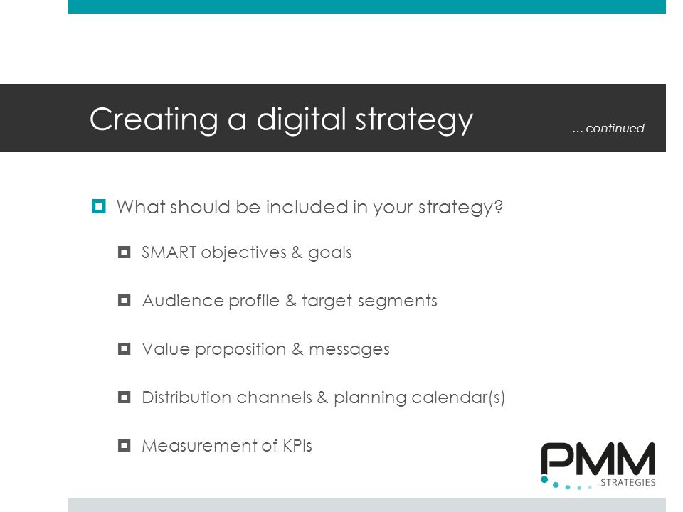 Creating a digital strategy  What should be included in your strategy.