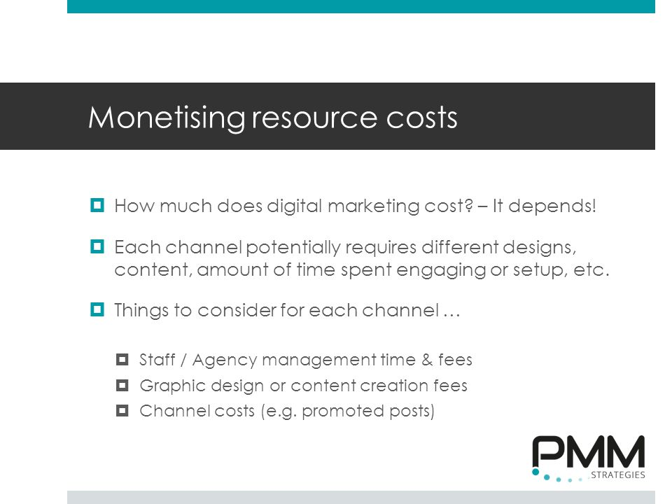 Monetising resource costs  How much does digital marketing cost.