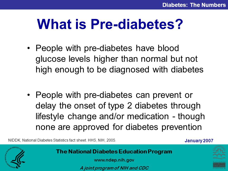 Diabetes: The Numbers The National Diabetes Education Program   A joint program of NIH and CDC January 2007 What is Pre-diabetes.