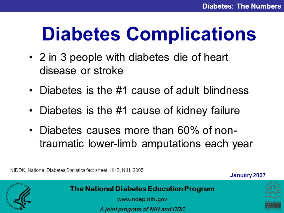Diabetes: The Numbers The National Diabetes Education Program   A joint program of NIH and CDC January 2007 Diabetes Complications 2 in 3 people with diabetes die of heart disease or stroke Diabetes is the #1 cause of adult blindness Diabetes is the #1 cause of kidney failure Diabetes causes more than 60% of non- traumatic lower-limb amputations each year NIDDK, National Diabetes Statistics fact sheet.