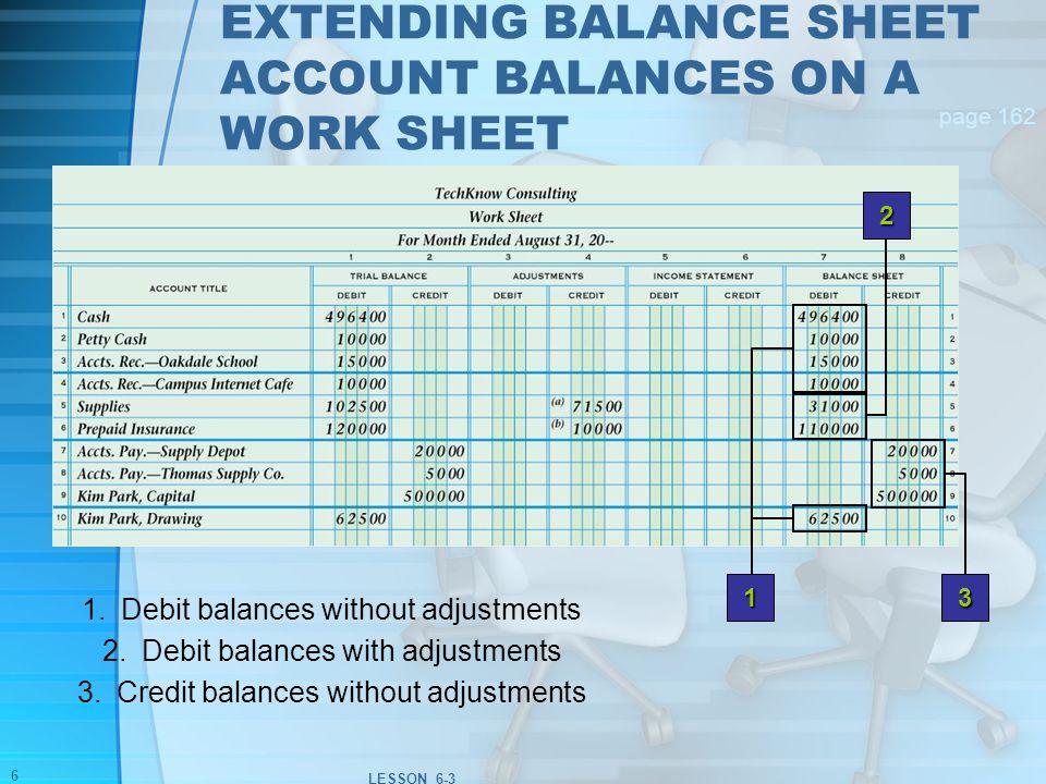 lesson 6 3 extending financial statement information on a work sheet
