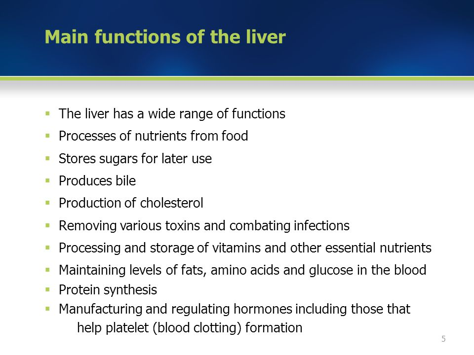 Main functions of the liver  The liver has a wide range of functions  Processes of nutrients from food  Stores sugars for later use  Produces bile  Production of cholesterol  Removing various toxins and combating infections  Processing and storage of vitamins and other essential nutrients  Maintaining levels of fats, amino acids and glucose in the blood  Protein synthesis  Manufacturing and regulating hormones including those that help platelet (blood clotting) formation 5