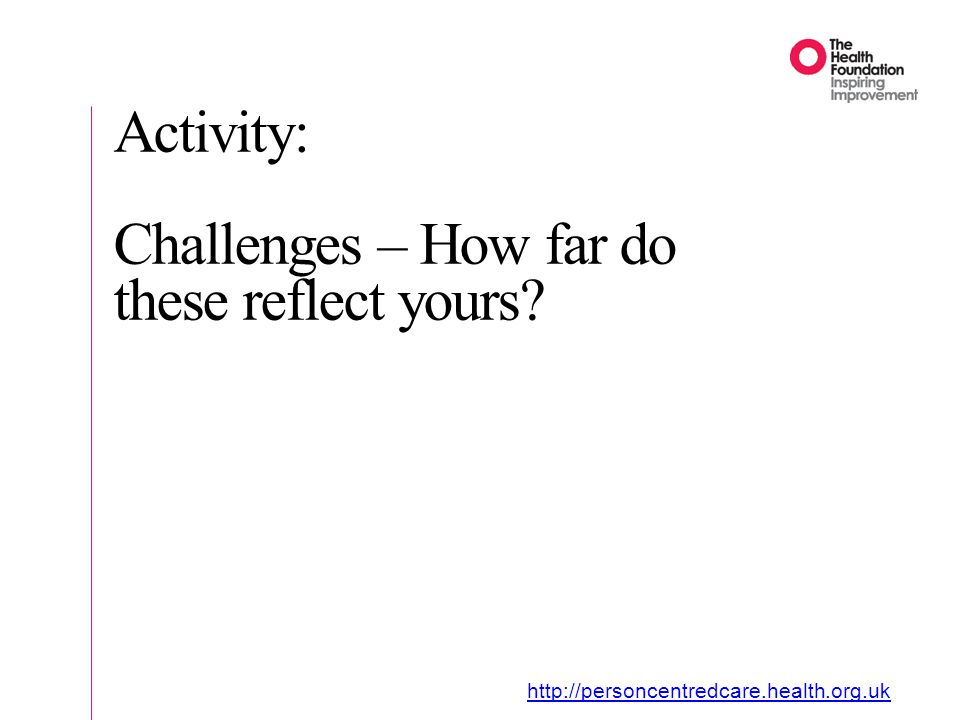 Activity: Challenges – How far do these reflect yours