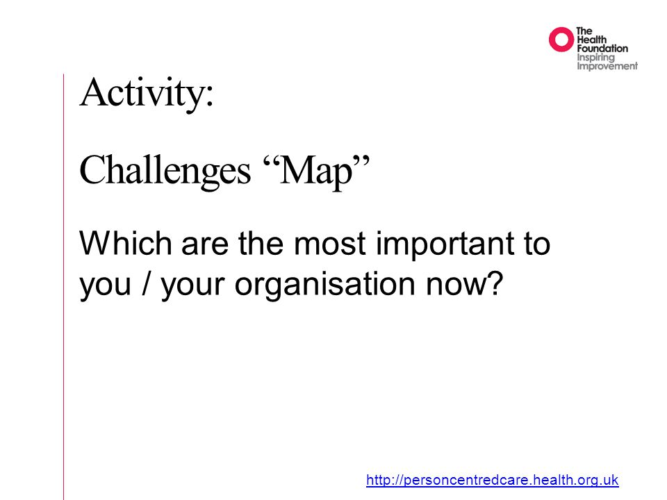 Activity: Challenges Map Which are the most important to you / your organisation now.