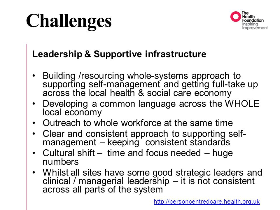 Challenges Leadership & Supportive infrastructure Building /resourcing whole-systems approach to supporting self-management and getting full-take up across the local health & social care economy Developing a common language across the WHOLE local economy Outreach to whole workforce at the same time Clear and consistent approach to supporting self- management – keeping consistent standards Cultural shift – time and focus needed – huge numbers Whilst all sites have some good strategic leaders and clinical / managerial leadership – it is not consistent across all parts of the system