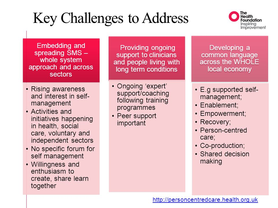 Key Challenges to Address Embedding and spreading SMS – whole system approach and across sectors Rising awareness and interest in self- management Activities and initiatives happening in health, social care, voluntary and independent sectors No specific forum for self management Willingness and enthusiasm to create, share learn together Providing ongoing support to clinicians and people living with long term conditions Ongoing 'expert' support/coaching following training programmes Peer support important Developing a common language across the WHOLE local economy E.g supported self- management; Enablement; Empowerment; Recovery; Person-centred care; Co-production; Shared decision making