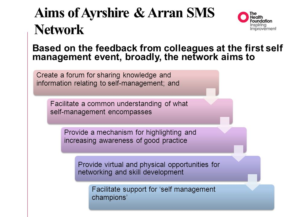 Aims of Ayrshire & Arran SMS Network Based on the feedback from colleagues at the first self management event, broadly, the network aims to Create a forum for sharing knowledge and information relating to self-management; and Facilitate a common understanding of what self-management encompasses Provide a mechanism for highlighting and increasing awareness of good practice Provide virtual and physical opportunities for networking and skill development Facilitate support for 'self management champions'
