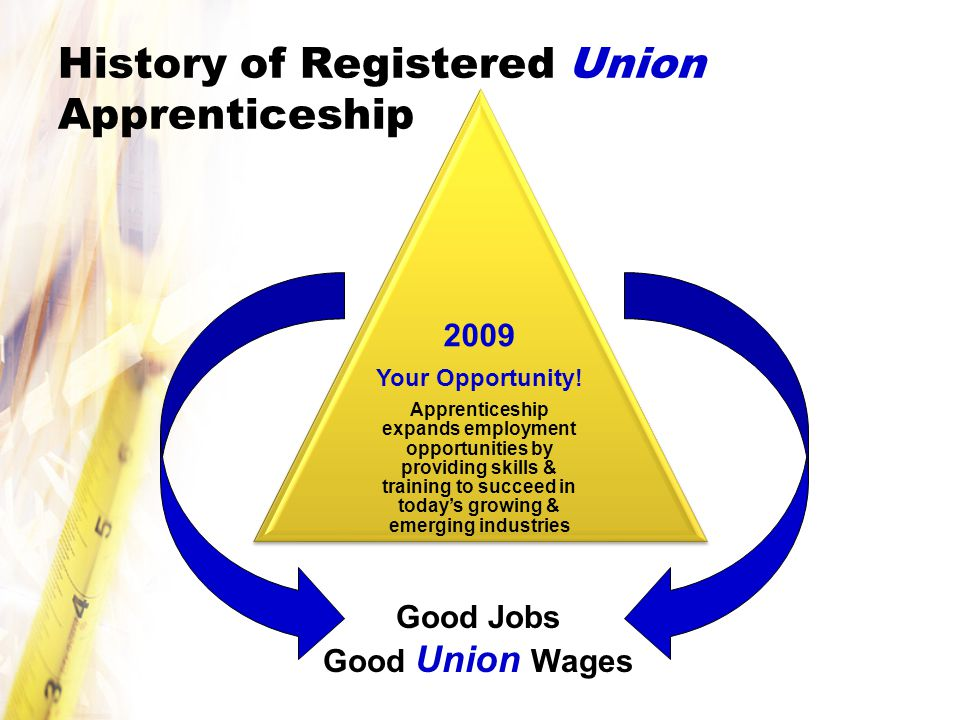 History of Registered Union Apprenticeship Good Jobs Good Union Wages 2009 Your Opportunity.