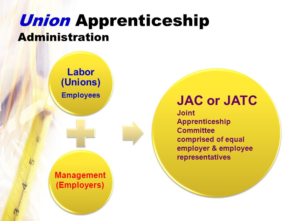 Union Apprenticeship Administration JAC Joint Apprenticeship Committee comprised of equal employer & employee representatives Program Sponsors Labor (Unions) Employees Management (Employers) JAC or JATC Joint Apprenticeship Committee comprised of equal employer & employee representatives