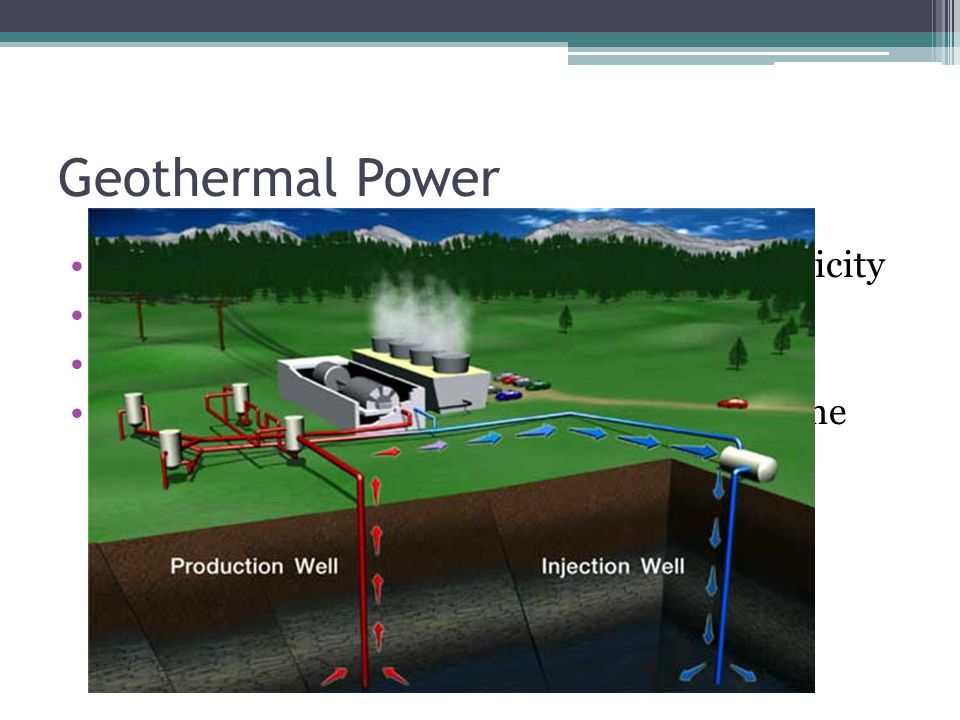 Geothermal Power Uses the heat of the Earth to generate electricity Has an efficiency of 16% Low to no pollution Can only be used where magma is close to the surface