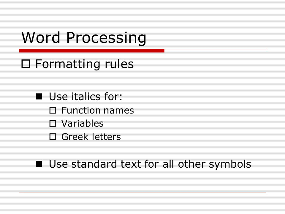 Word Processing Mathematics Word Processing More Professional