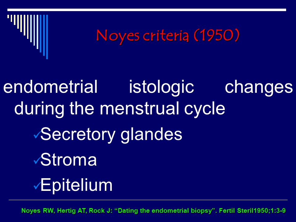 dating the endometrial biopsy noyes