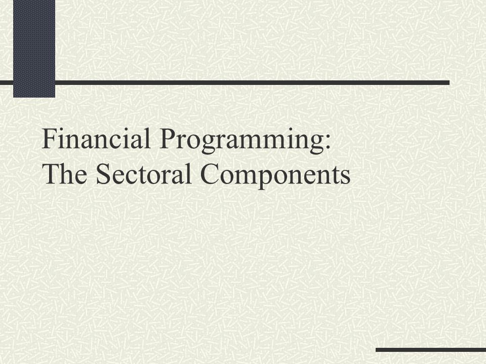 Financial Programming: The Sectoral Components