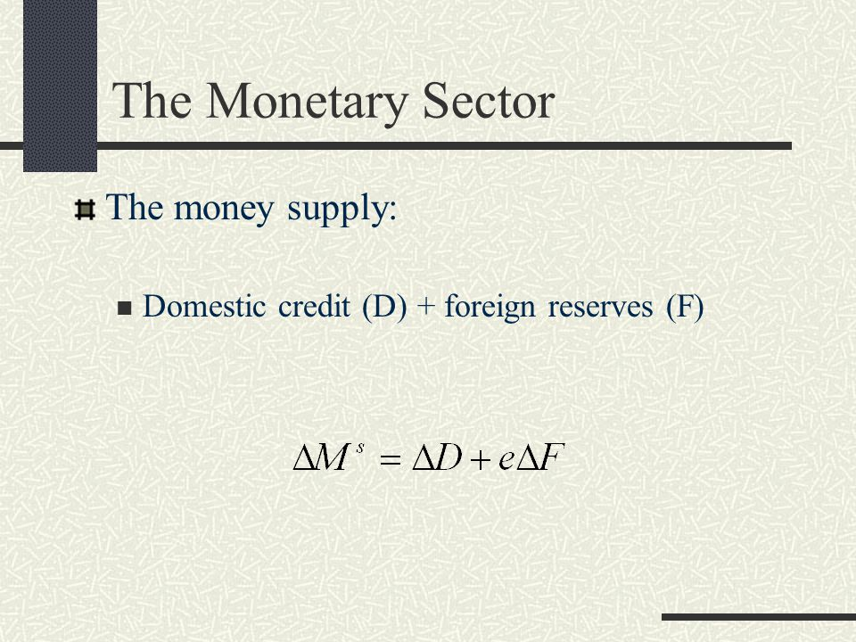 The Monetary Sector The money supply: Domestic credit (D) + foreign reserves (F)