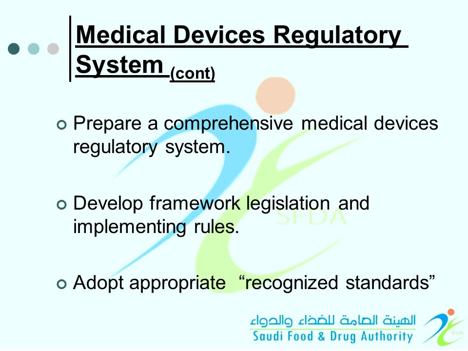 Medical Devices Regulatory System (cont) Prepare a comprehensive medical devices regulatory system.